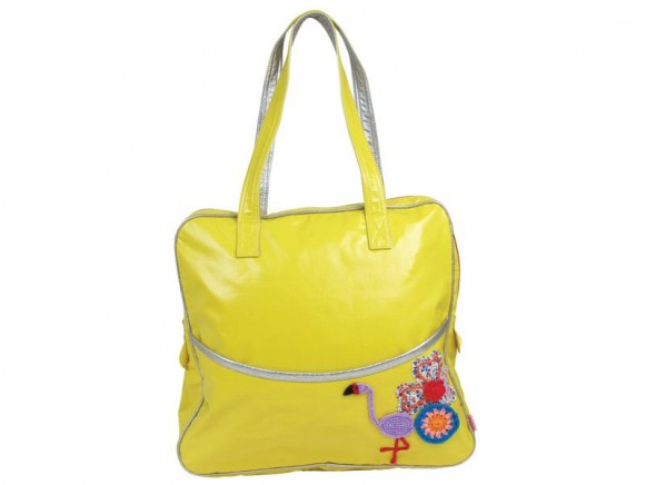 Large shoulder bag in yellow with flamingo print by RICE
