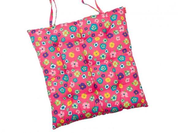 Chair cushion in fuchsia flower printed fabric by RICE Denmark