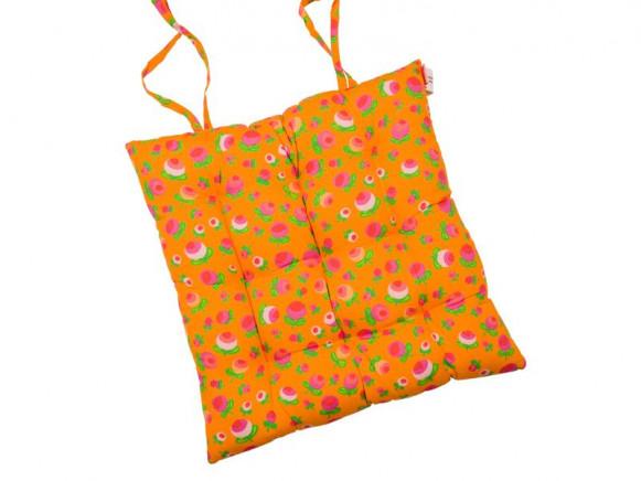 Chair cushion in orange berry print by RICE Denmark
