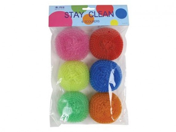6 scourers in assorted colours as refill  by RICE
