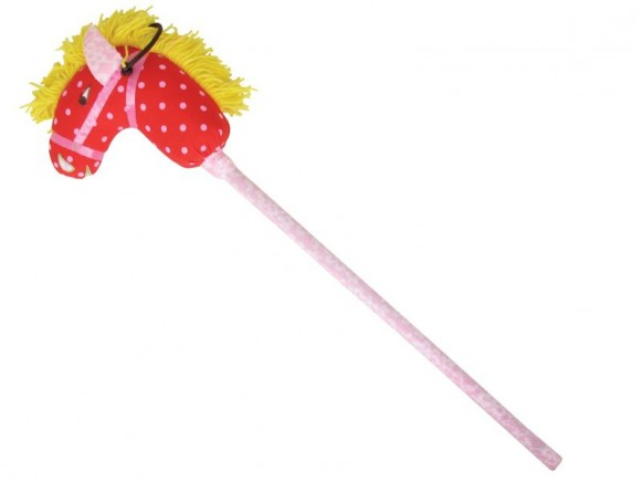 Kids hobby horse in red with pink dots by RICE