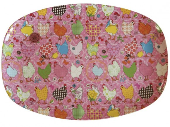Melamine plate with pink hen print by RICE Denmark