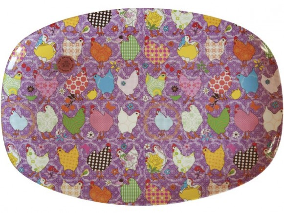 Melamine plate with purple hen print by RICE Denmark