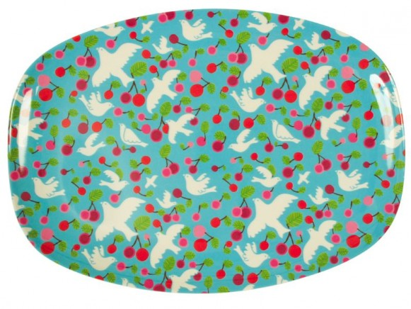 Melamine plate with cherry and dove print by RICE Denmark