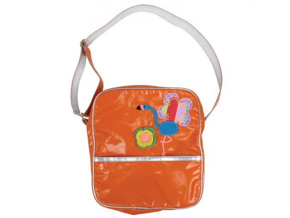 Orange biker bag with flamingo application by RICE