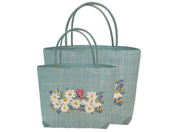 Turquoise bag with embroidered flowers by RICE