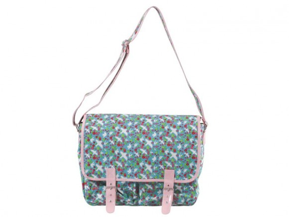 Turquoise dove printed canvas bag by RICE Denmark