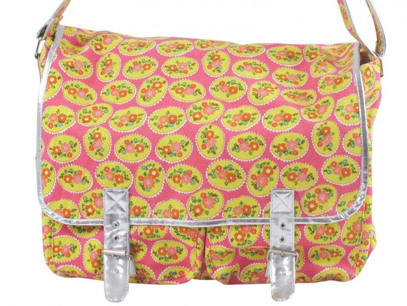 Yellow/fuchsia flower printed canvas bag by RICE Denmark