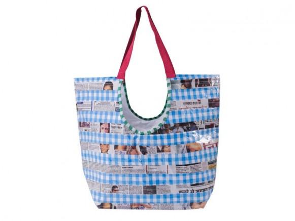 Blue checked LAKSHYA bag by RICE Denmark