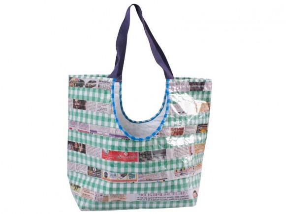 Green checked LAKSHYA bag by RICE Denmark