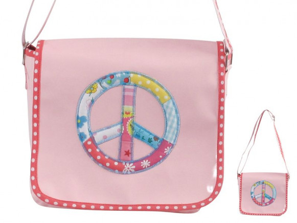 Pink rexin shoulder bag with peace appliction by RICE