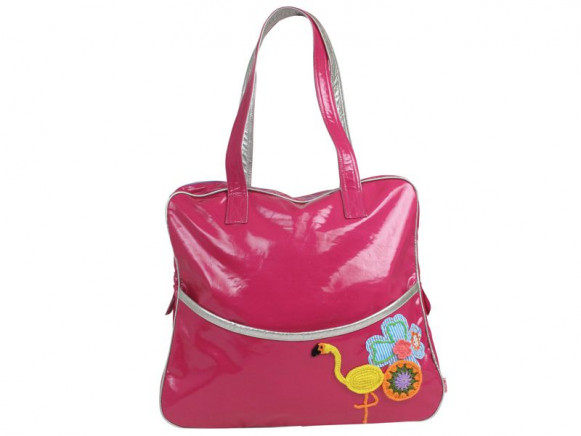 Large shoulder bag in raspberry with flamingo print by RICE