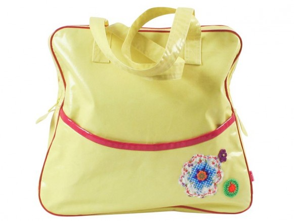 Large shoulder bag in yellow with flower application by RICE