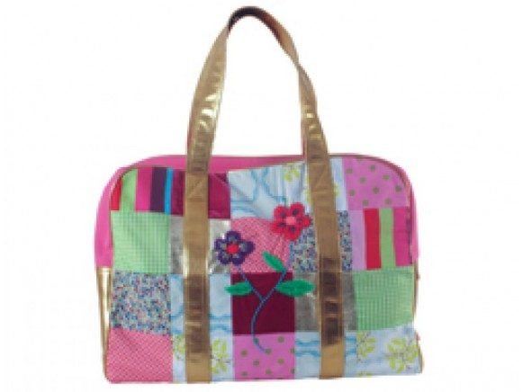 Pink patchwork travel bag with golden handles by RICE