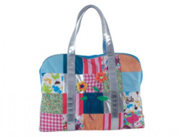 Turquoise patchwork travel bag with silver handles by RICE