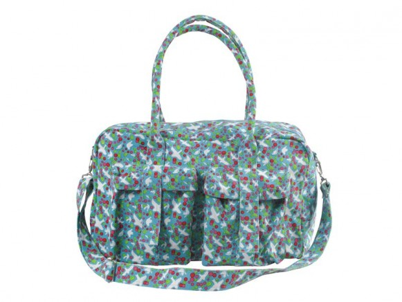 Canvas weekend bag in turquoise dove print by RICE