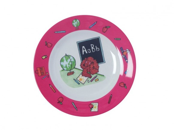 Kids melamine lunch plate with playing dogs for girls by RICE