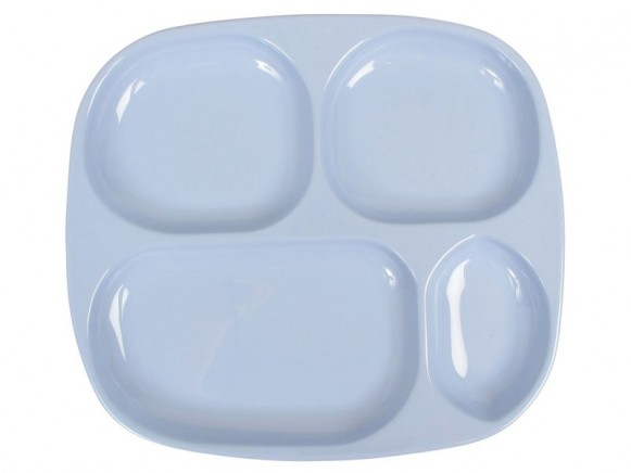 Kids 4 room melamine plate in solid blue by RICE