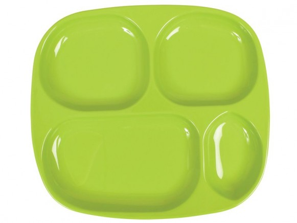 Kids 4 room melamine plate in solid green by RICE
