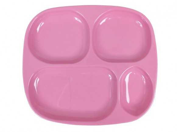 Kids 4 room melamine plate in solid pink by RICE