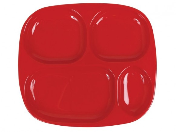 Kids 4 room melamine plate in solid red by RICE