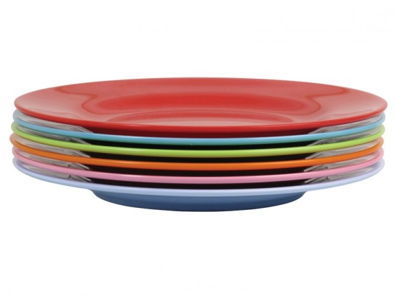 Melamine round side plates in bright colours by RICE
