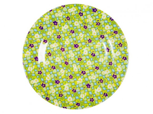 Melamine side plate two tone with clover print by RICE