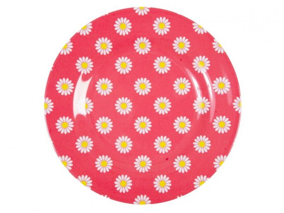 Melamine side plate two tone with coral daisy print by RICE