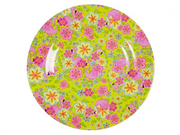 Melamine side plate two tone with flamingo print by RICE