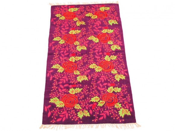 Embroidered floor mat in purple rose by RICE Denmark