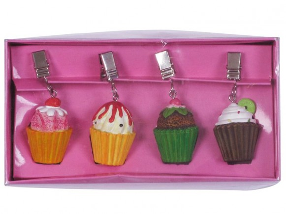 4 cup cake shaped resin tablecloth weights in box by RICE