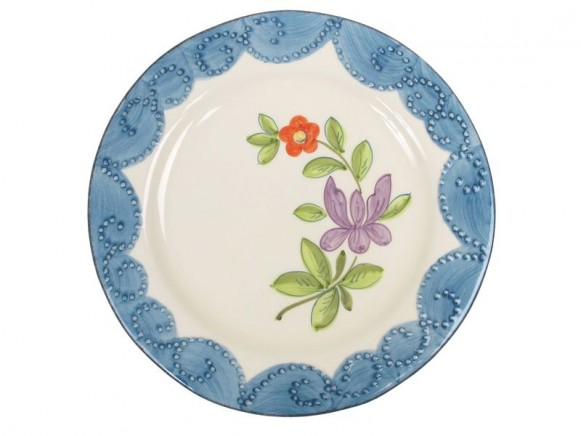 Dinner plate in peacock blue with violet by RICE