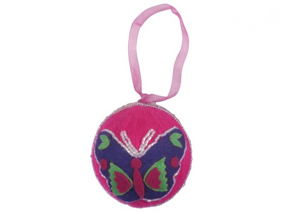 Woolen X-mas ball in fuchsia with butterfly decoration by RICE
