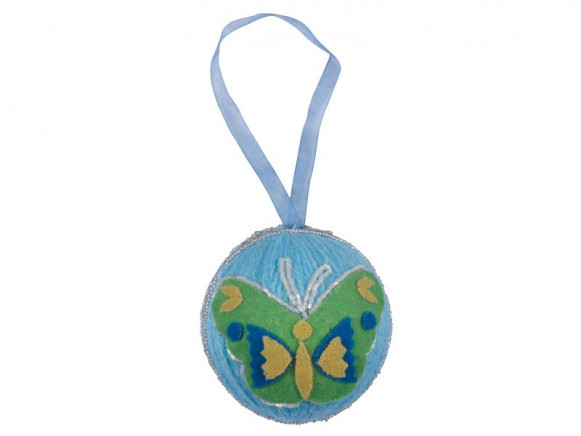Woolen X-mas ball in mint with butterfly decoration by RICE
