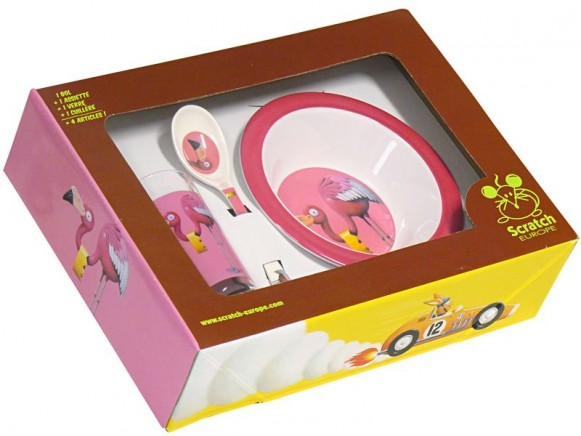 Kids tableware with flamingo by Scratch
