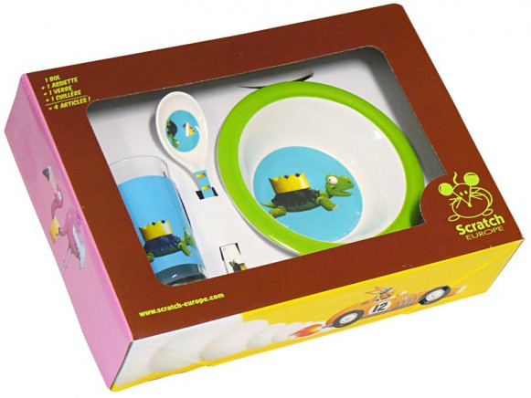 Kids tableware with turtle by Scratch