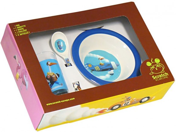 Kids tableware with stork by Scratch