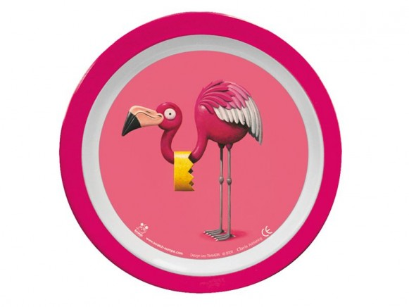 Melamine plate with flamingo by Scratch
