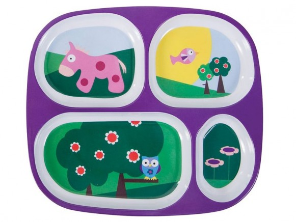 4 rooms melamine plate with landscape by Sebra