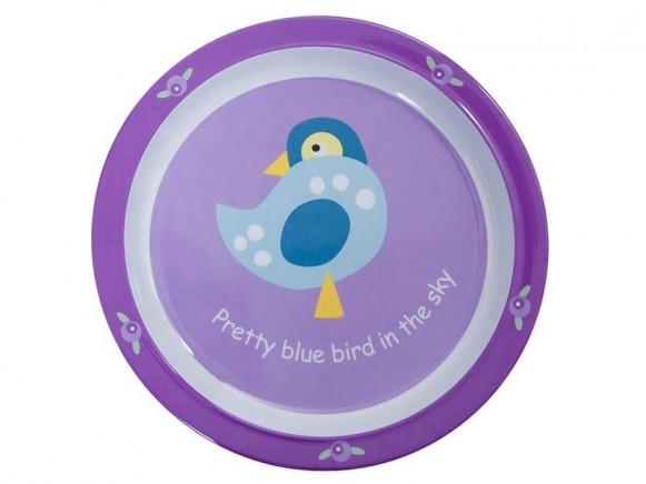 Melamine plate with lovely bird by Sebra
