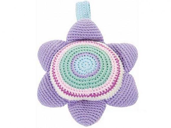 Flower shaped crochet music clock by Sebra