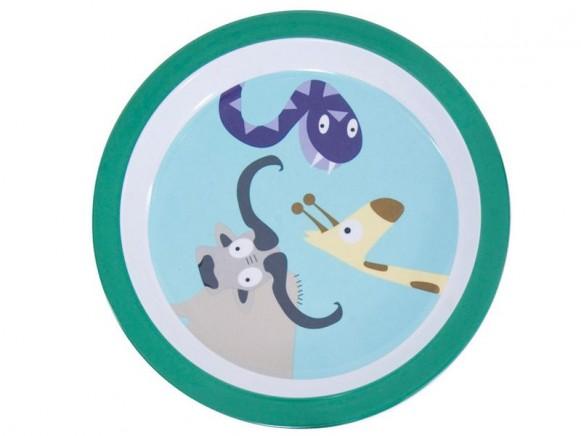 Melamine plate with zoo animals for boys by Sebra
