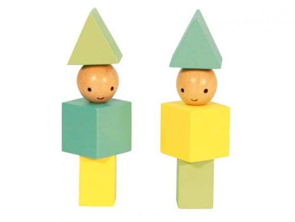 A Little Lovely Company Blocks Little People yellow - green