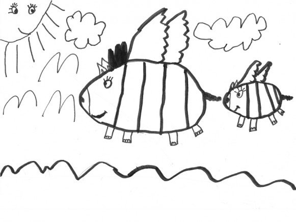 Colouring Image FLYING PIGS