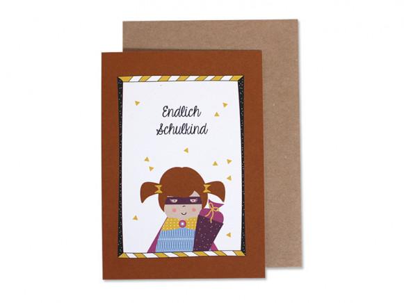 Ava & Yves Greeting Card SCHOOL Girl