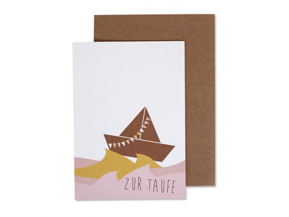 Ava & Yves Greeting Card BAPTISM Ship rose