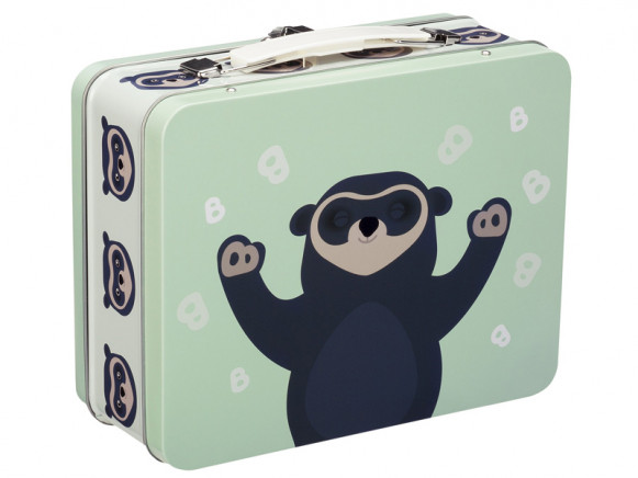 Blafre Metal Lunchbox Spectacled Bear LIGHT GREEN