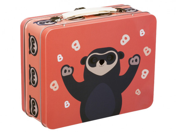 Blafre Metal Lunchbox Spectacled Bear CORAL