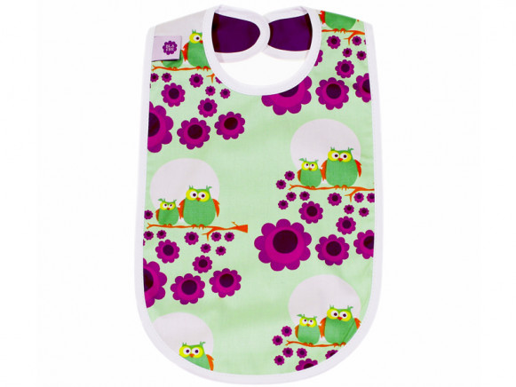 Blafre baby bib owls green purple