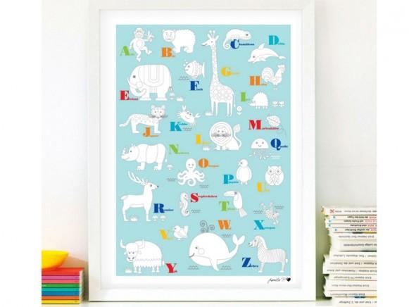 byGraziela animal coloring poster ABC
